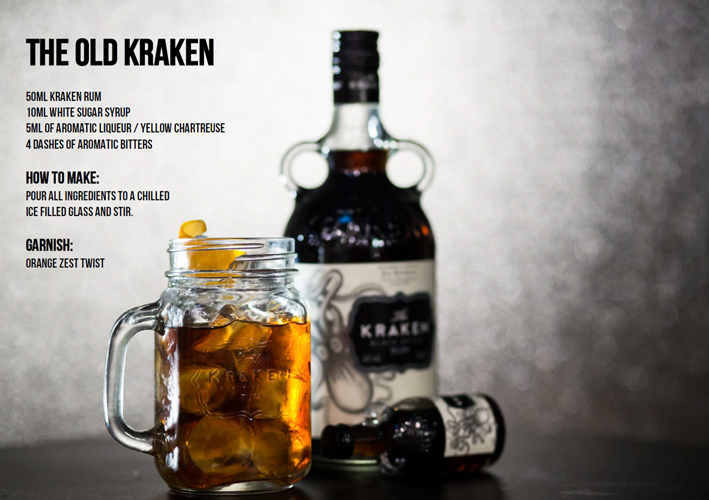 Kraken think ink pines london olios for Mix spiced rum with