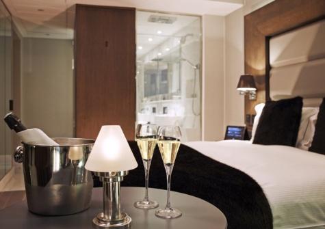 Champagne in bedroom