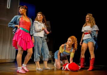 Gracie Lai as Urleen, Emma Fraser as Wendy Jo, Laura Sillett as Rusty and Hannah Price as Ariel Moore in Footloose. Photo Credit Matt Martin