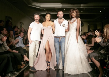 Designer Svet, Sarah-Jane Crawford, Designer Emilio and a catwalk model at Kolchagov Barba SS18 Catwalk Show at London Fashion Week, in London, UK. 15 September, 2017