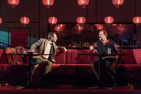 L-R Christian Slater (Ricky Roma) & Daniel Ryan (Lingk) - Glengarry Glen Ross at The Playhouse - (c) Marc Brenner