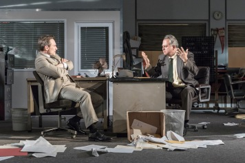 L-R Christian Slater (Ricky Roma) & Stanley Townsend (Shelley Levene) - Glengarry Glen Ross at The Playhouse - (c) Marc Brenner