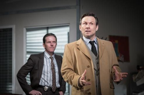 L-R Oliver Ryan (Baylen) & Christian Slater (Ricky Roma) - Glengarry Glen Ross at The Playhouse - (c) Marc Brenner