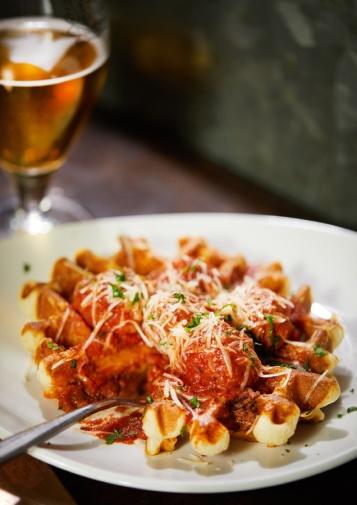 Sausage and Pancetta savoury waffle
