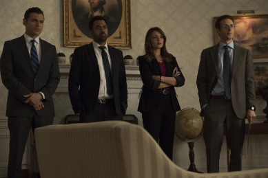 "DESIGNATED SURVIVOR - ""Fallout"" - President Kirkman and his staff have credible intelligence that a dirty bomb is on U.S. soil, thrusting the president into a high-stakes effort to find the bomb and stop it from detonating. Meanwhile, at the White House, Emily approaches Chuck to help her with something that has damaging and illegal consequences, on ABC's ""Designated Survivor,"" WEDNESDAY, APRIL 4 (10:00-11:00 p.m. EDT), on The ABC Television Network. (ABC/Ben Mark Holzberg) ADAN CANTO, KAL PENN, ITALIA RICCI, PAULO COSTANZO"