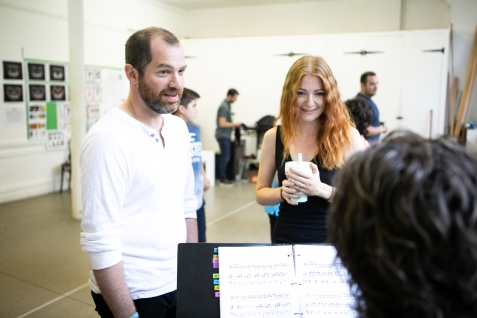 L-R Daniel Boys (Marvin) & Laura Pitt-Pulford (Trina) - Rehearsal Images - Falsettos - Photo by Matthew Walker - (4371)