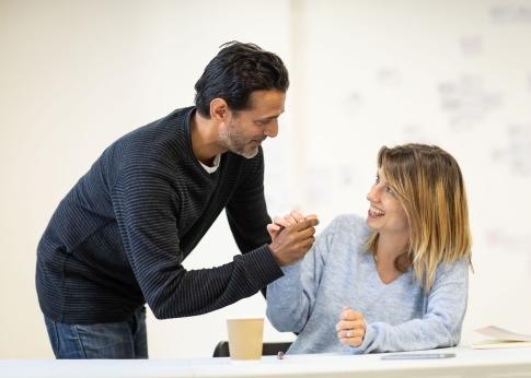 [L-R] Navin Chowdhry (Gil) & Claire Goose (Thea) - The Girl Who Fell - Trafalgar Studios - Rehearsal Images - Photograph by Helen Maybanks (113)